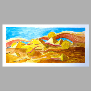 Watercolour landscape on paper, gold square