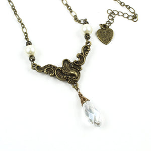 Victorian Crystal Necklace-Pendant Necklaces-Jewelry Gypsy Designs