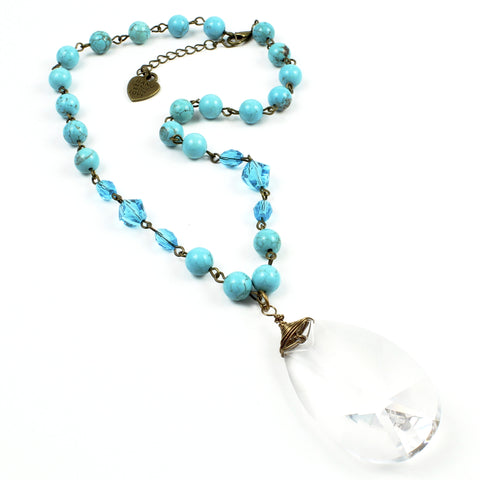 Turquoise Crystal Necklace-Beaded Necklaces-Jewelry Gypsy Designs
