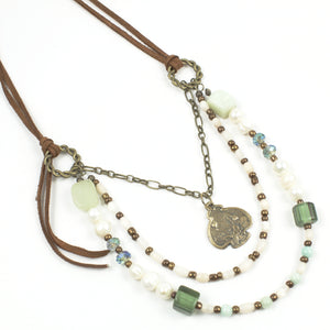 Pearl/Jade Leather Beaded Necklace-Multi-Strand Necklaces-Jewelry Gypsy Designs