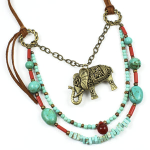 Turquoise Leather Elephant Necklace-Multi-Strand Necklaces-Jewelry Gypsy Designs