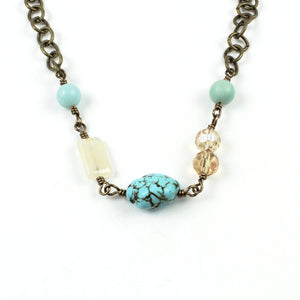 Blue Layering Necklace-Beaded Necklaces-Jewelry Gypsy Designs