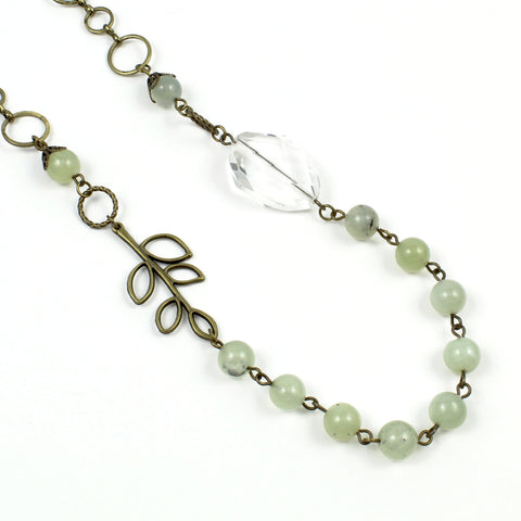Green Jade, Crystal Necklace-Beaded Necklaces-Jewelry Gypsy Designs