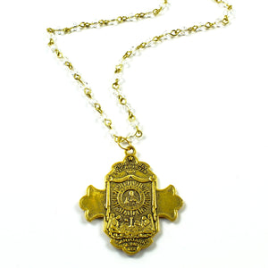 Gold St. Micheal's Necklace-necklace-Jewelry Gypsy Designs