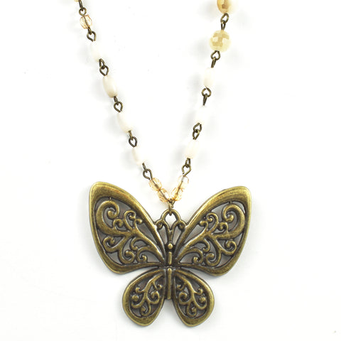 Beaded Butterfly Necklace-necklace-Jewelry Gypsy Designs