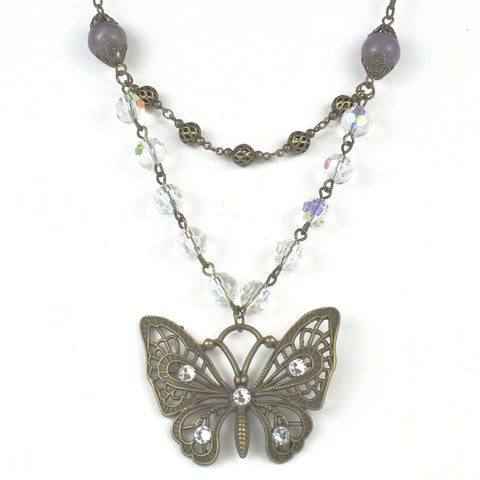 Butterfly Crystal Necklace-Beaded Necklaces-Jewelry Gypsy Designs
