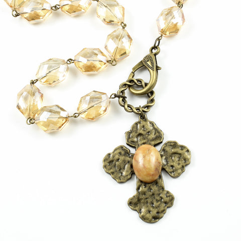 Amber Crystal Cross Necklace-necklace-Jewelry Gypsy Designs