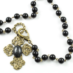 Agate Cross Necklace-necklace-Jewelry Gypsy Designs