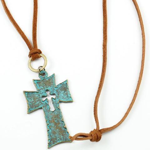 Patina Cross Necklace-Pendant Necklaces-Jewelry Gypsy Designs