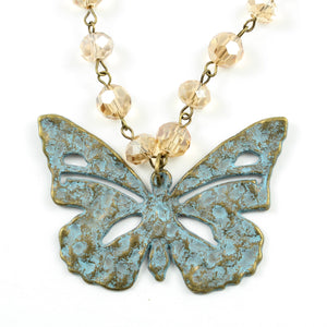 Crystal Turquoise Butterfly Necklace-necklace-Jewelry Gypsy Designs