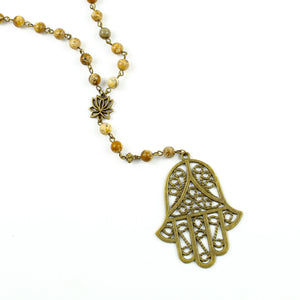 Hamsa Hand Y-Necklace-Y-Necklaces-Jewelry Gypsy Designs