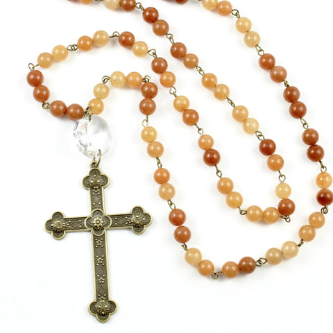 Aventurine Cross Necklace-necklace-Jewelry Gypsy Designs