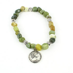 Green Gemstone Bracelet with Australian Coin Charm
