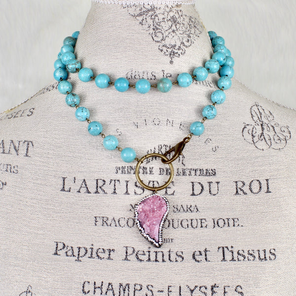 Turquoise Druzy Necklace-Beaded Necklaces-Jewelry Gypsy Designs
