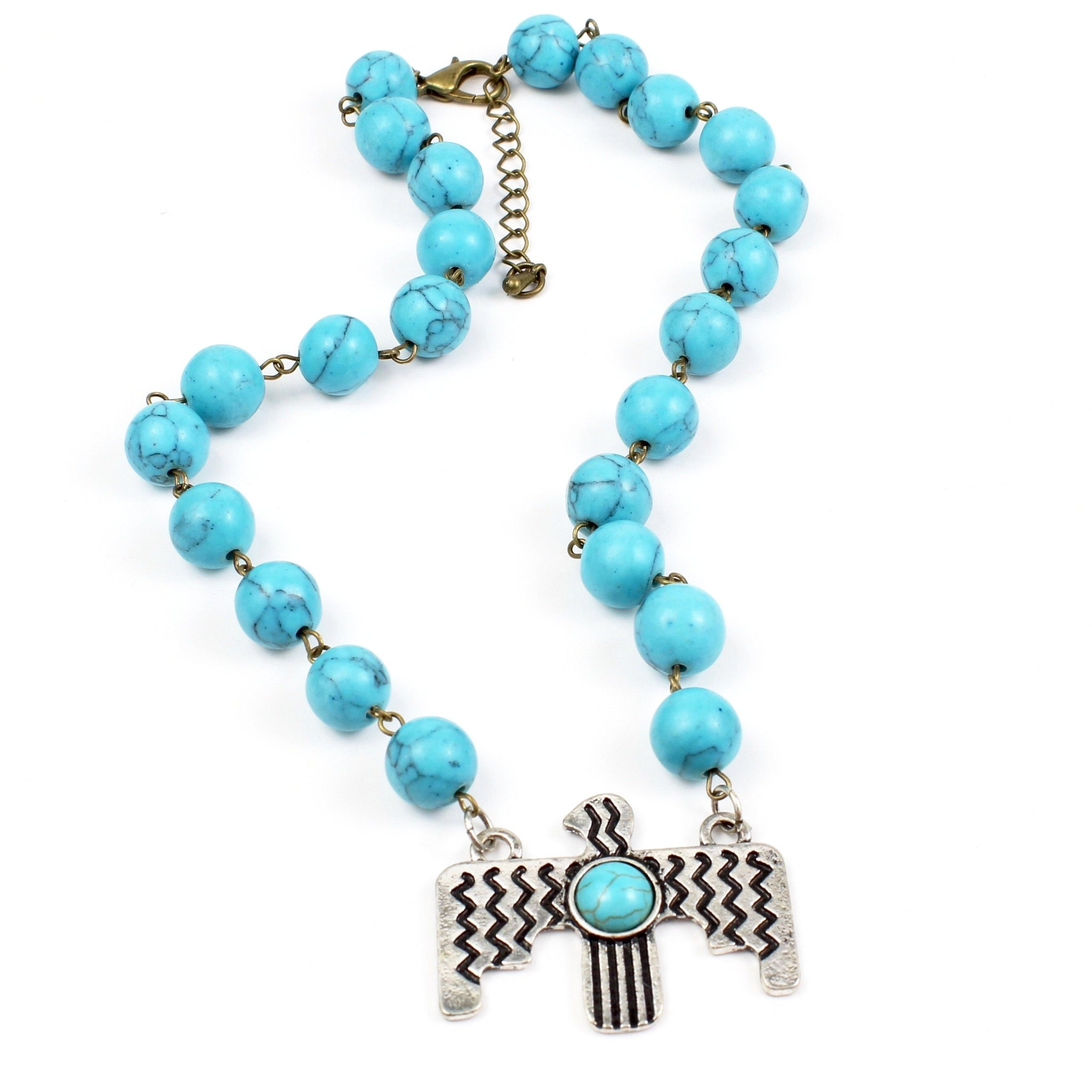 Turquoise Thunderbird Necklace-Beaded Necklaces-Jewelry Gypsy Designs