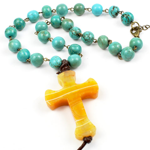 Turquoise Cross Necklace-Beaded Necklaces-Jewelry Gypsy Designs