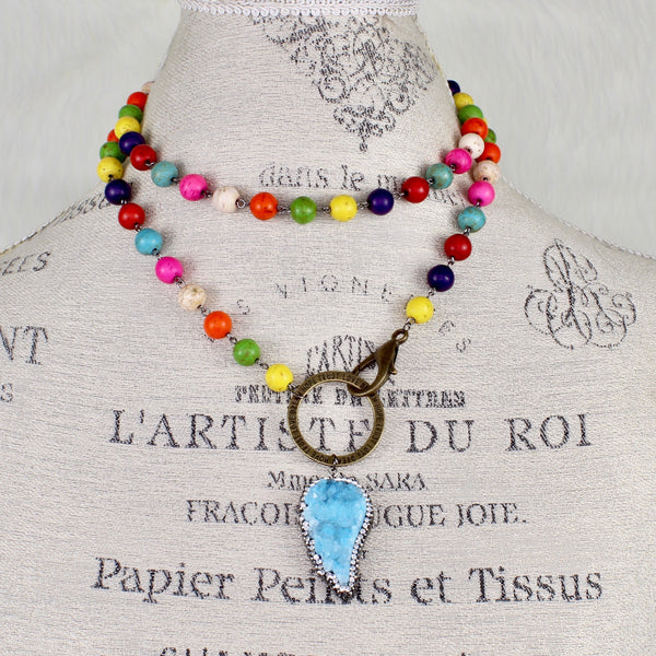 Multi Color Druzy Necklace-Beaded Necklaces-Jewelry Gypsy Designs