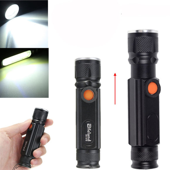 Elfeland  T6 2000LM 3Modes Magnetic Tail Rechargeable Zoomable LED Flashlight BUME