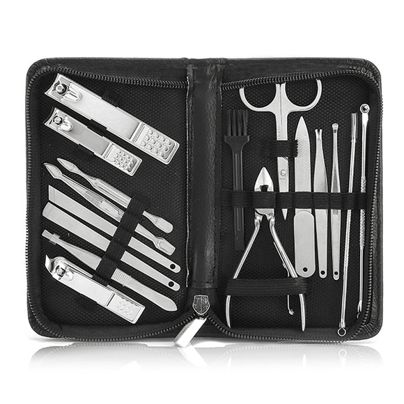 16Pcs Nail Art Manicure Tools Set Nails Clipper Scissors Tweezer Knife Manicure Sets For Nail Tools BUME