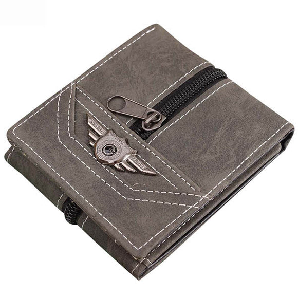 Men Retro Canvas Punk Zipper Three Fold Card Holders Money Bag Wallet BUME