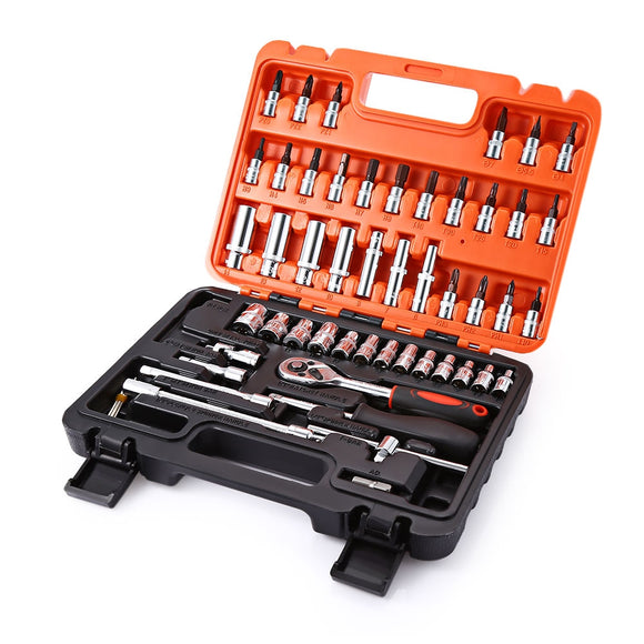 53pcs Automobile Motorcycle Repair Tool Case Precision Sleeve Universal Kit BUME