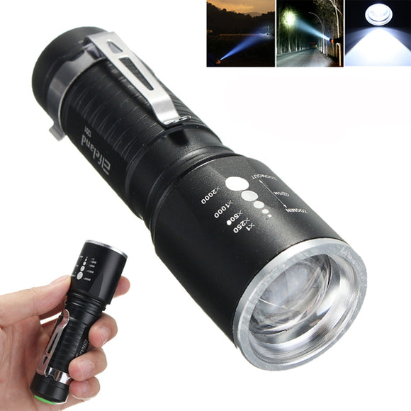 Elfeland 1201  T6 2000LM 5modes Zoomable LED Flashlight 18650/AAA BUME