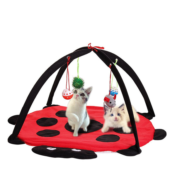 Pet Cat Play Bed Activity Tent Playing Toy Exercise Kitten Pad Mat Bells House BUME