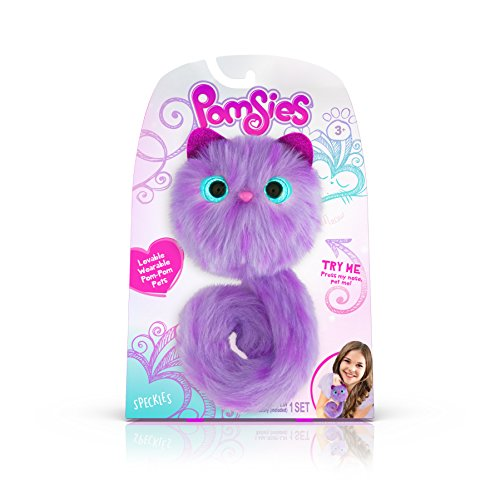 Pomsies Speckles Plush Interactive Toys, Purple/Lavender BUME