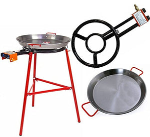 Paella Pan + Paella Burner and Stand Set - Complete Paella Kit for up to 19 Servings BUME