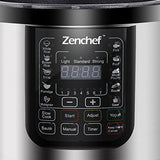 Zenchef 14-in-1 NEWEST 6 Qt Multifunctional Stainless Steel Electric Pressure Cooker 1000W w/LED Display Screen, Slow Cooker, Rice Cooker, Sauté, Steamer, Yogurt Maker & Food Warmer (Upgraded) BUME