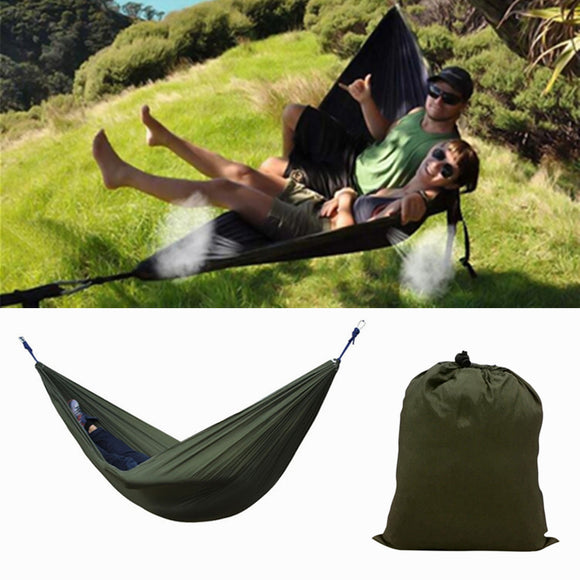 Portable 270x140CM Hammock Camping 210T Nylon Double hanging Swing Bed BUME