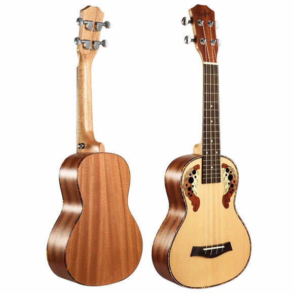 Ukulele Carved Pattern Spruce Tree Peach Flower Core Acoustic Guitar Grape Hole BUME