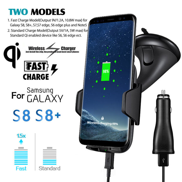 Universal 360 Degree 2017 Qi  Fast Wireless Charger Car Holder Charging Mount Pad Quick Charger For Samsung S8/S8 plus#25 BUME