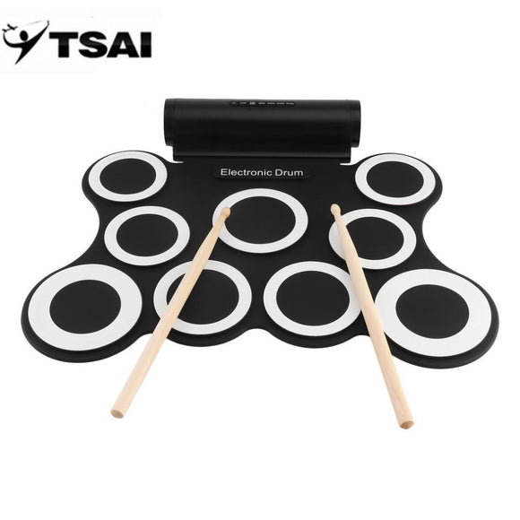 TSAI Portable Electronic Digital  Drum Pad Set With Drumsticks USB Charging 3.5mm Audio BUME