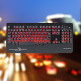 Three colors Mechanical Backlit Keyboard 104 keys Ergonomic Design Game Keyboard (Black) BUME