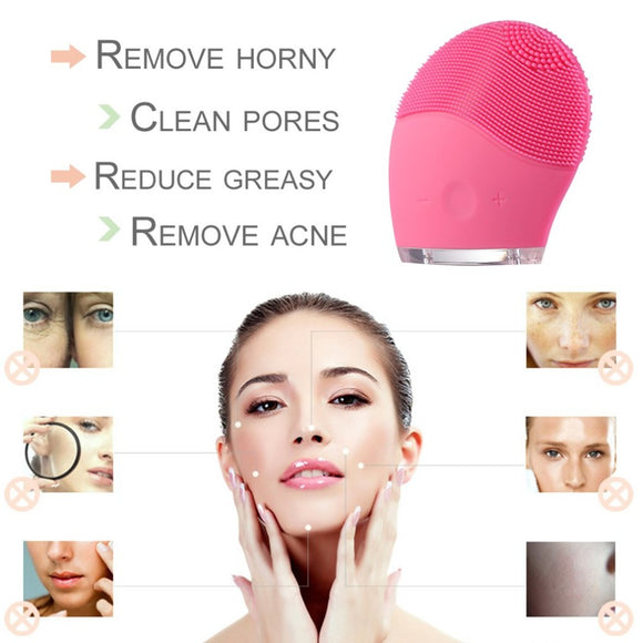 USB Face Cleaning Household Skin Care Cleaning Massage Brush Electric Ultrasonic Waterproof Silicone Facial Washing Cleaner BUME