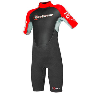 Kids Shorty Wetsuits | Reefwear | Flex 3/2mm | Red
