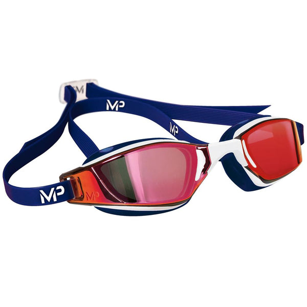 Michael Phelps MP XCEED Titanium Mirrored Swimming Goggles | White/Blue