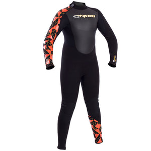 Typhoon Storm TFlex 3/2mm Junior Steamer Wetsuit | Black/Orange