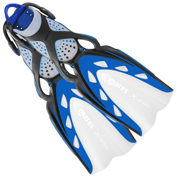 Mares X-Stream Scuba Diving Fins | With Bungee Strap | Blue