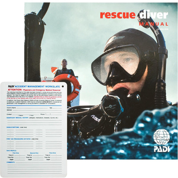 PADI Rescue Diver Course Manual with Accident Management Slate