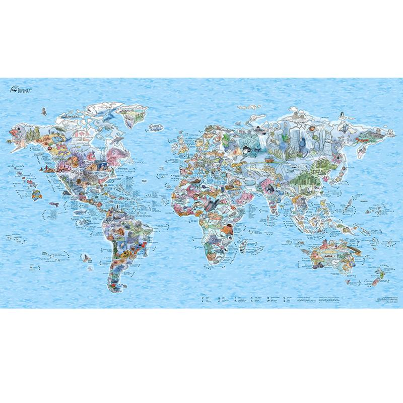 Awesome Maps World Dive Map 'Dive Bucket List'