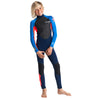 C-Skins Element Junior Boys & Girls 3/2mm Wetsuit in Navy/Flo Red/Cyan - Front