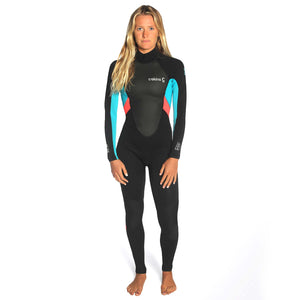 Women's C-Skins Element 3/2mm Wetsuit  | Black/Coral/Aqua front
