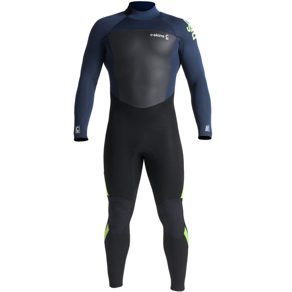 C-Skins Legend 4/3mm Wetsuit | Front Black/Bluestone/Lime