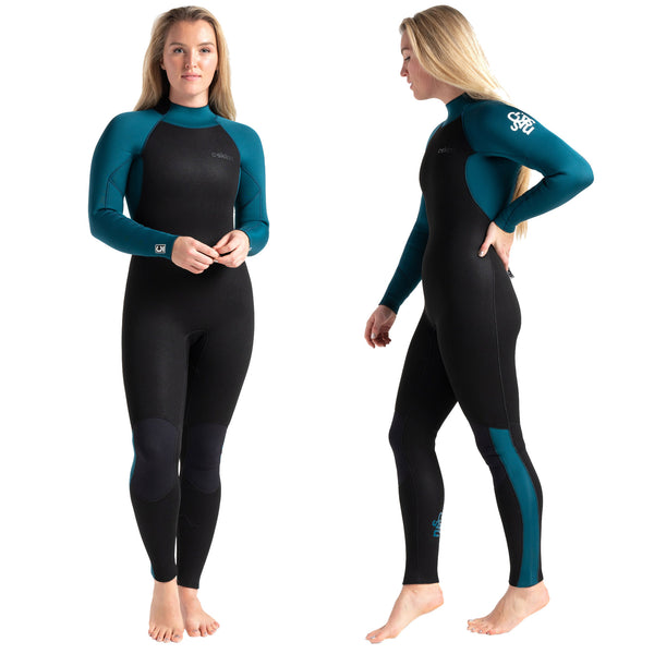 C-Skins Surflite 5:4:3mm Womens Wetsuit Black/Marine Blue Front & Side