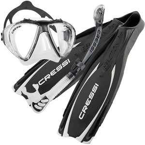 Cressi Reaction Pro Fins, Penta Mask & Alpha Dry Snorkel Set