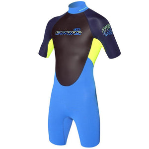 Childrens C-Skins Element 3/2mm Shorty Wetsuit | Blue/Yellow