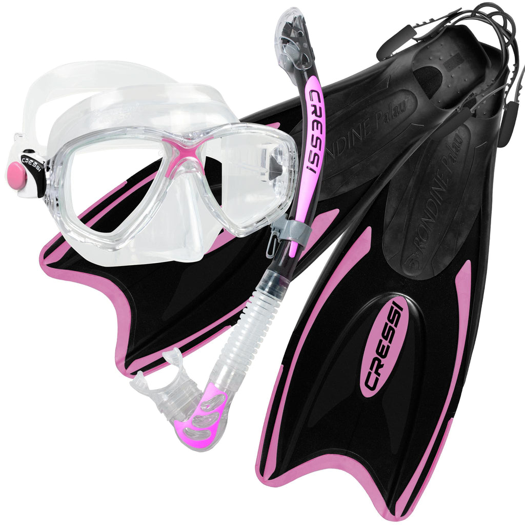 Cressi Marea Mask & Dry Snorkel Set with Cressi Palau Fins for Snorkelling | Pink