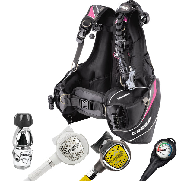 Cressi Ladies MC9 XS Compact White & Travelight BCD & Reg Set